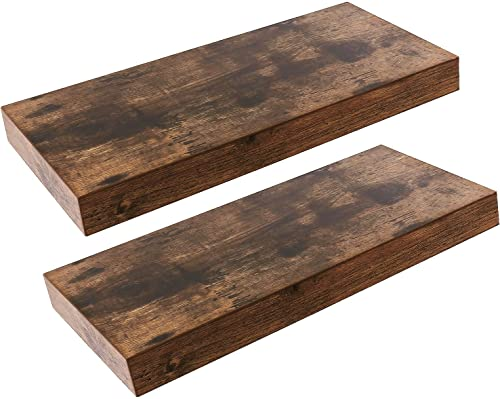 HOOBRO Floating Shelves, Rustic Wooden Wall Shelf Set of 2, 15.7 inch Hanging Shelf with Invisible Brackets, for Bathroom, Bedroom, Toilet, Kitchen, Office, Living Room Decor