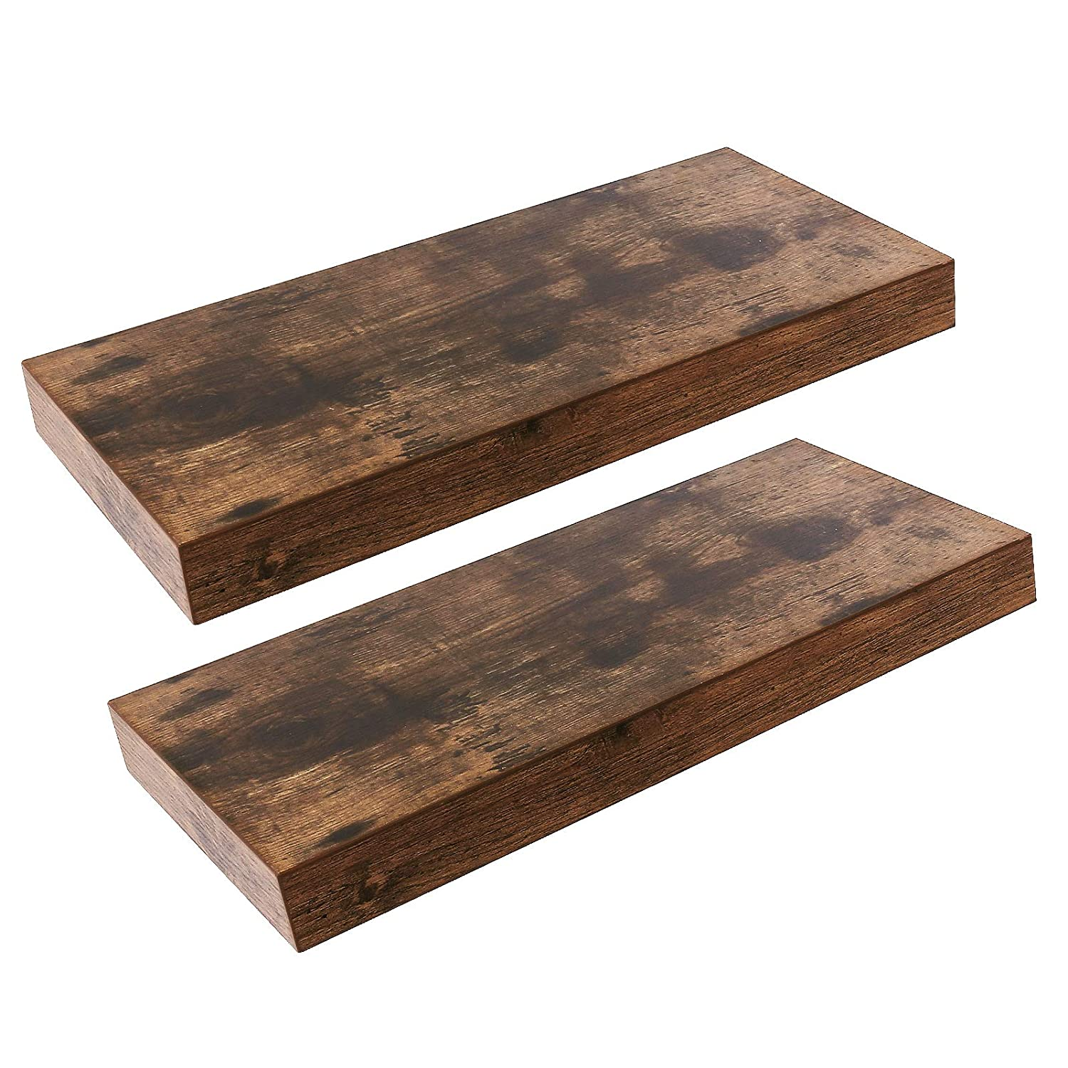 HOOBRO Floating Shelves, Rustic Wooden Wall ShelfSet of 2, 15.7 inch Hanging Shelf with Invisible Brackets, for Bathroom, Bedroom, Toilet, Kitchen, Office, Living Room Decor