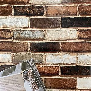 """197""""3D Brick Wallpaper Peel and Stick Wallpaper Brick Wallpaper Removable Wallpaper Brick Wallpaper Self Adhesive Wallpaper Stick and Peel Faux Brick Wallpaper 3D Wall Paper Vinyl Roll"""
