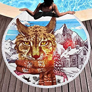 chenguang4422 Cat with Red Scarf in The House Snow Under Printed Round Beach Towel Yoga Picnic Mat Round Tablecloth Ultra Soft Super Water Absorbent Terry Towel with Tassels