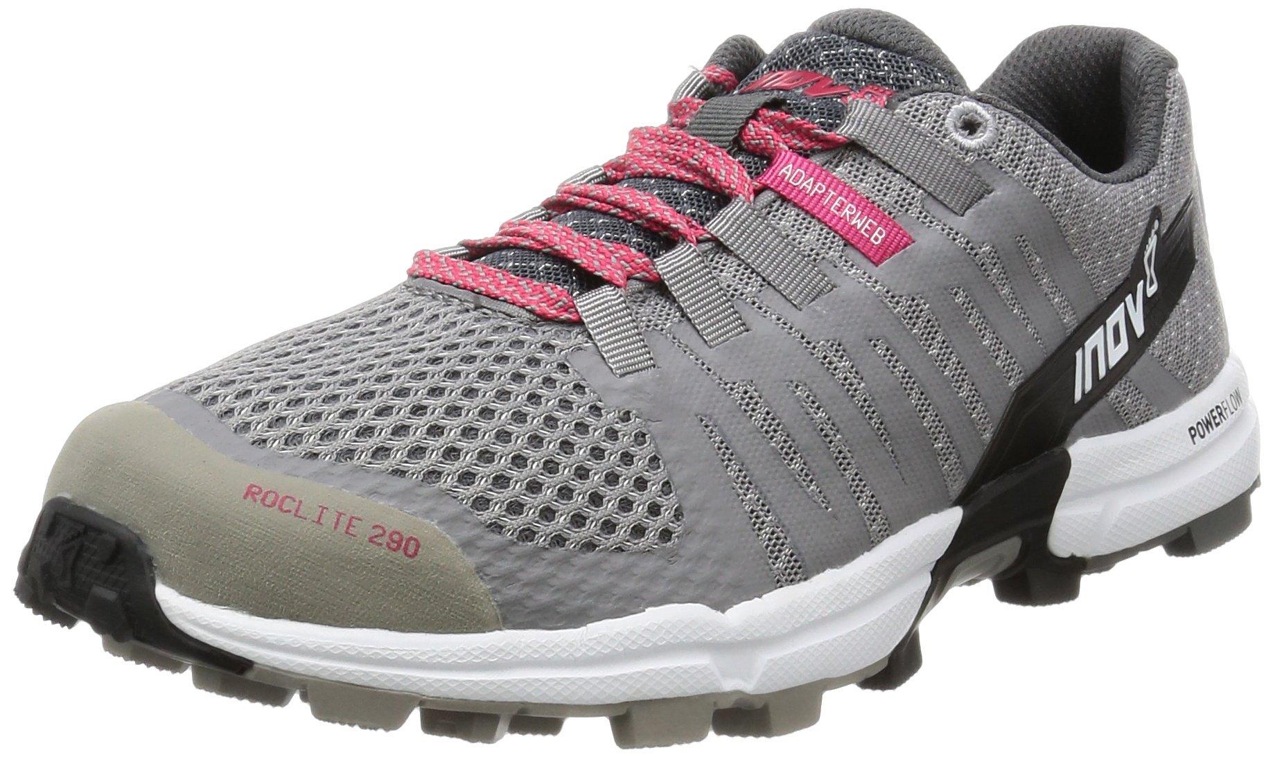Inov-8 Women's Roclite 290 Trail Runner, Grey/Pink/White, 10 D US
