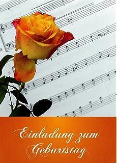 Schön 20 Einladungskarten Zum Geburtstag Mit Innentext Und Umschlägen Motiv: Rose  / Noten