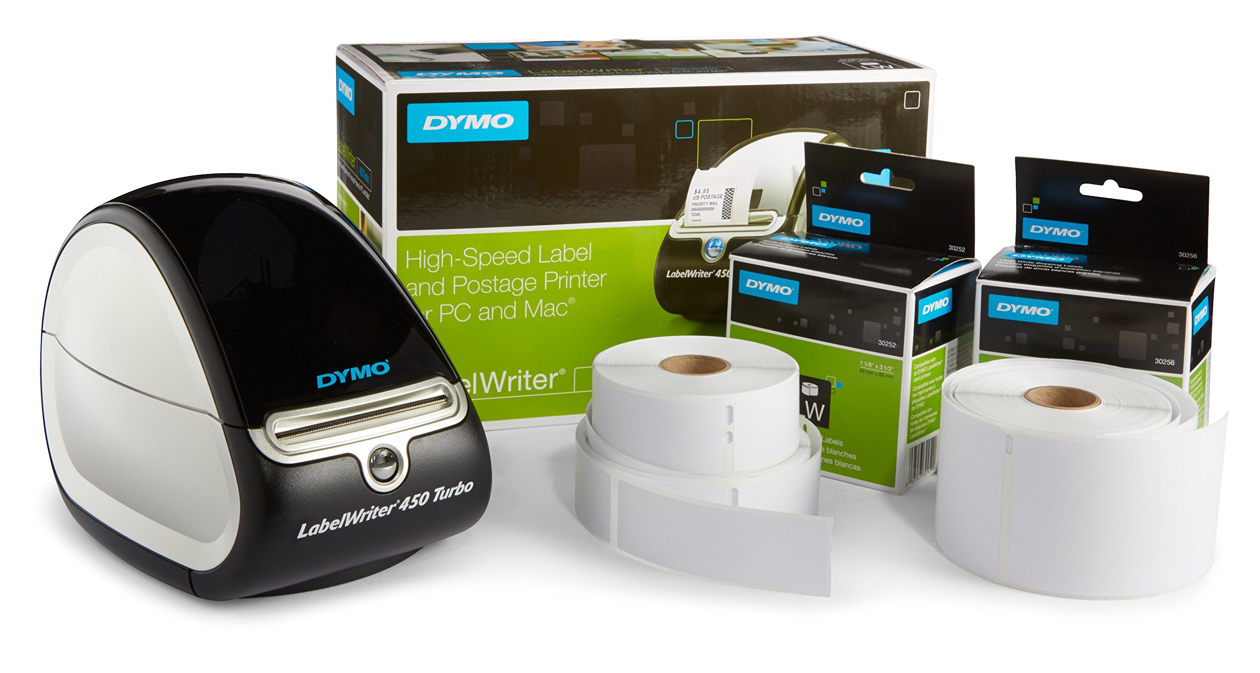 DYMO LabelWriter 450 Turbo Label Maker with Bonus LW White Address Labels, 1-1/8-In. x 3-3-1/2-In., Roll of 350 by DYMO