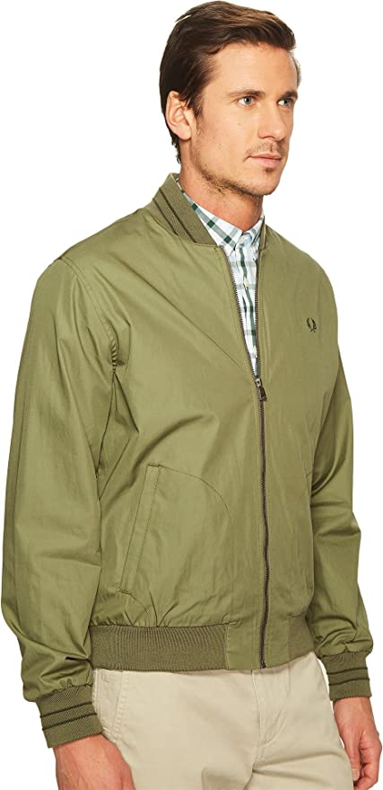 28792e63a Fred Perry Men s Tramline Bomber Jacket Olive Drab Outerwear  Amazon.ca   Clothing   Accessories