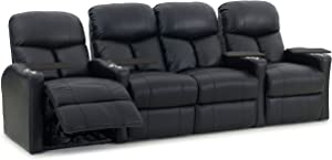 Octane Seating BOLT-R4SLP-BND-BL Octane Bolt XS400 Motorized Leather Home Theater Recliner Set (Row of 4)