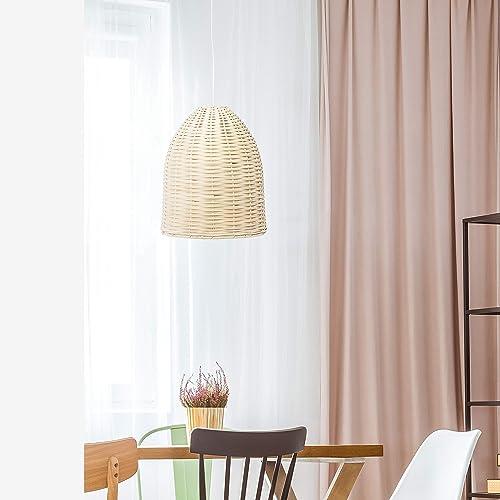 Elegant Designs PT1007-NAT Rattan Ceiling Light Pendant