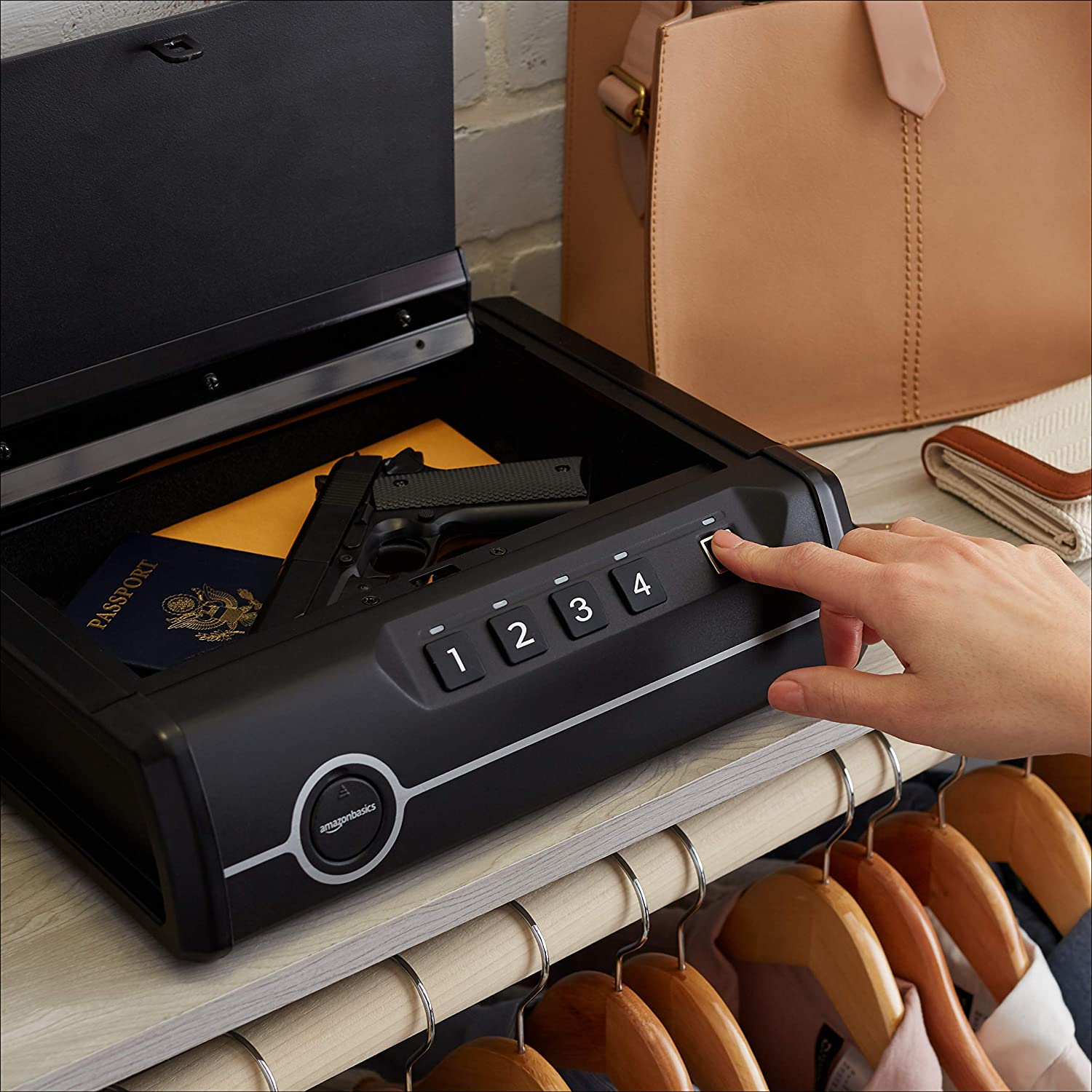 Basics Deluxe Quick-Access Firearm Safety Device with Biometric Fingerprint Lock