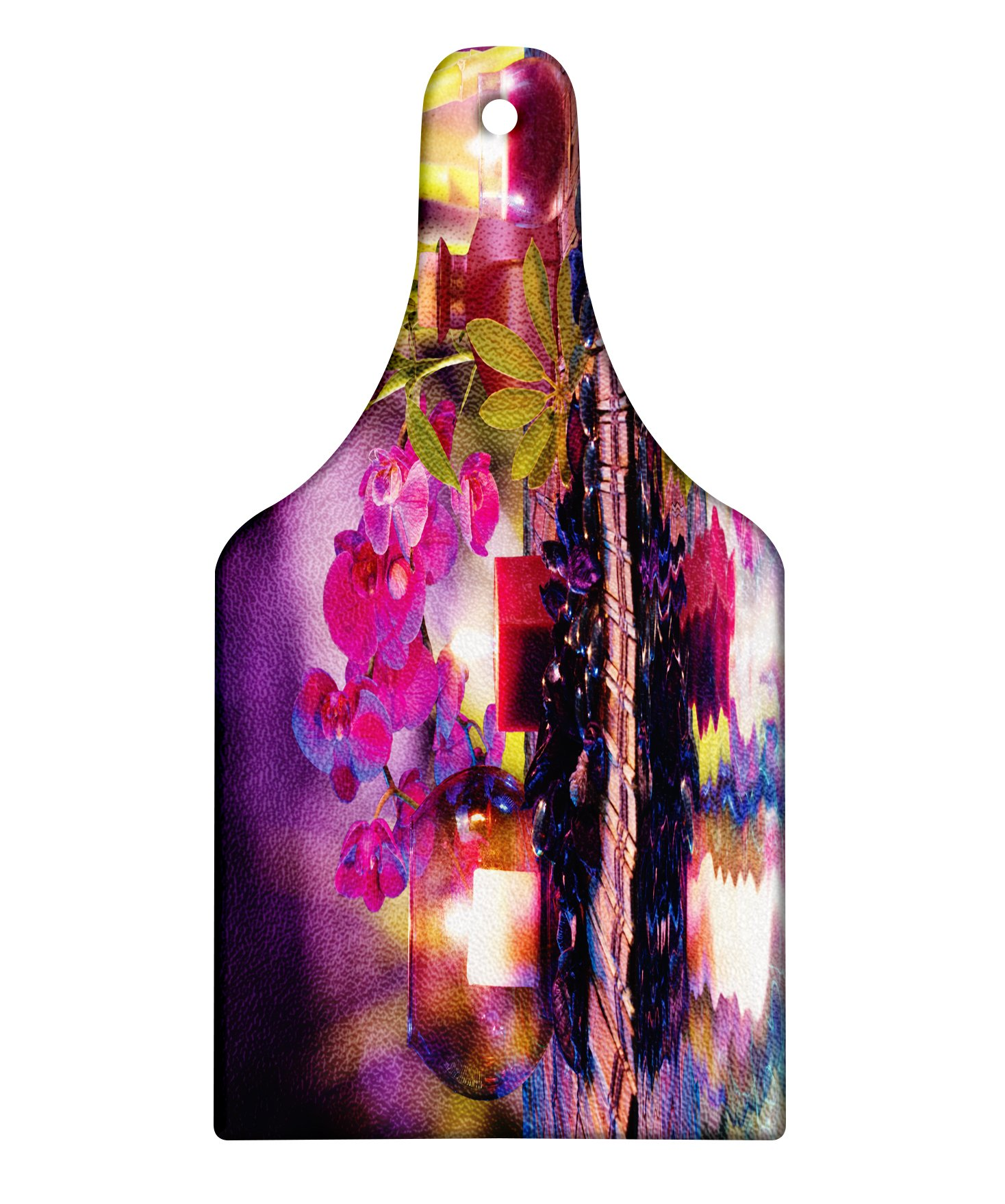 Lunarable Spa Cutting Board, Violet Composition Candles Oil Orchids Bamboo on Water Natural Leaves, Decorative Tempered Glass Cutting and Serving Board, Wine Bottle Shape, Violet Fuchsia Lime Green