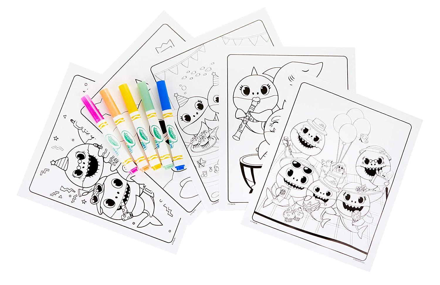 6 Crayola Color Wonder Baby Shark Coloring Pages Mess Free Coloring Gift for Kids 5 4 Age 3