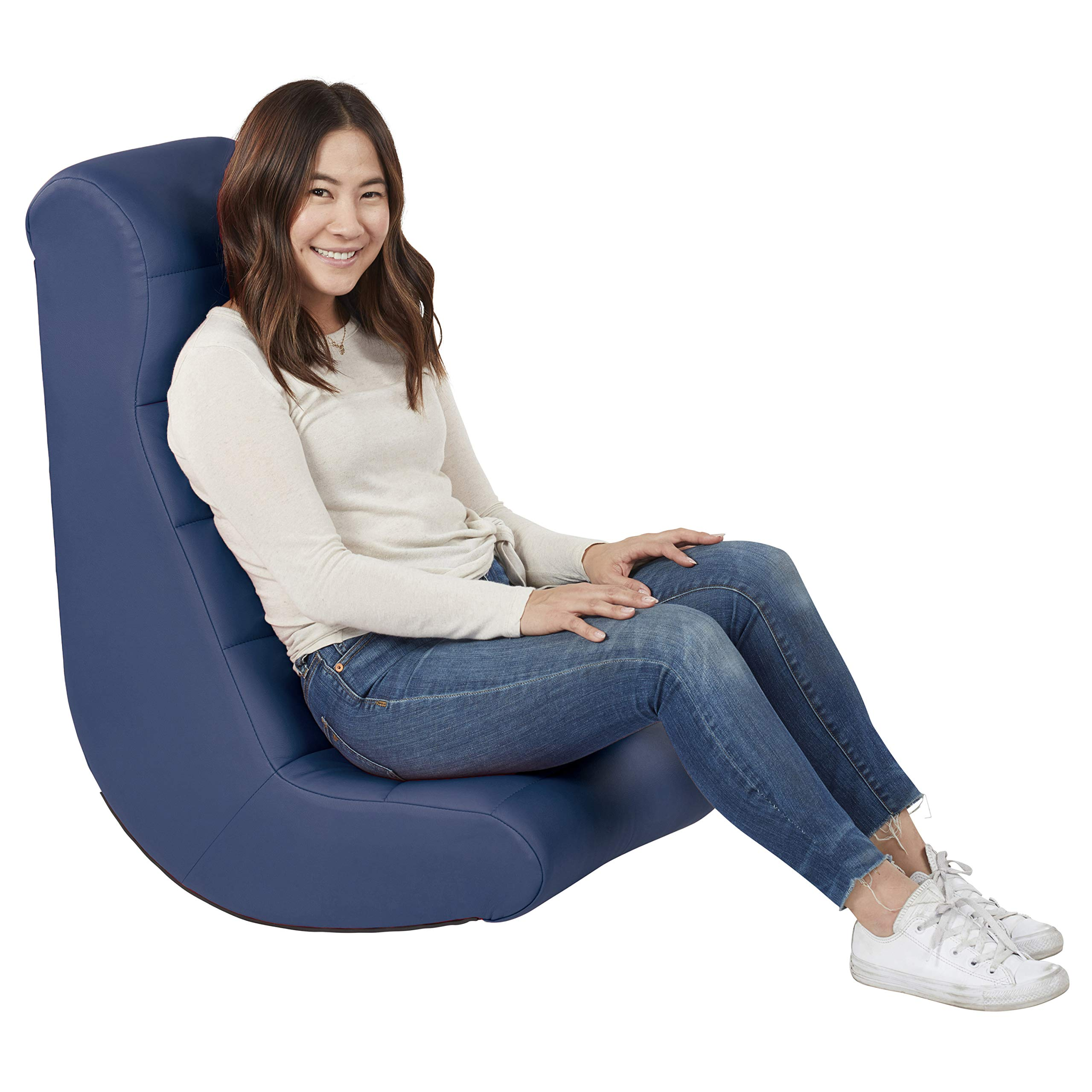 Soft Ergonomic Horizontal Soft Video Rocker - Great for Reading, Gaming, Meditating, or TV for Kids Teens and Adults - Navy by Factory Direct Partners