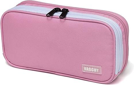VASCHY Estuche de lápices de múltiples compartimentos con bolsa con cremallera para la escuela y la oficina Medio Rosado: Amazon.es: Oficina y papelería