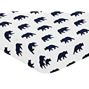 Sweet Jojo Designs Navy Blue and White Bear Print Baby or Toddler Fitted Crib Sheet for Big Bear Collection by