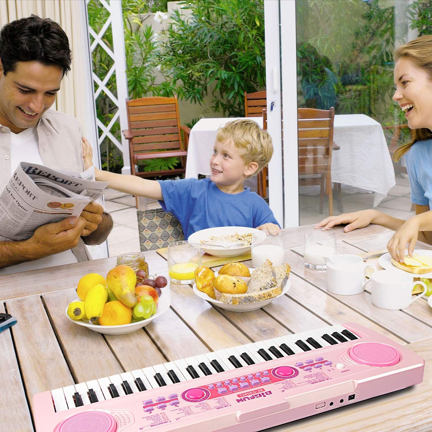 SAOCOOL Piano Keyboard, 49 Keys Multi-Function Charging Electronic Kids Piano Keyboard Music Educational Toy for Children Over 3 Years Old (Pink) by SAOCOOL (Image #7)