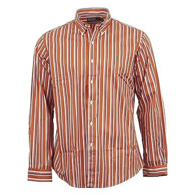 Ralph Lauren Chemise ray e manches longues Casual - Homme (Orange ... dd56726e668b