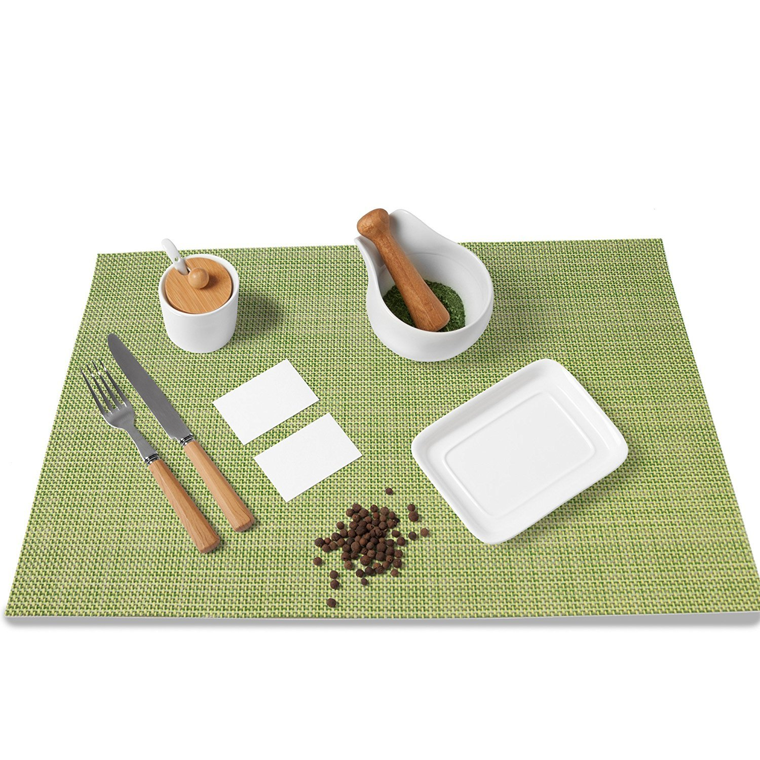 MeeHome Placemats Washable Table Mats for Heat Insulation, Non Slipping and Table Protection (Set of 6) (Green)