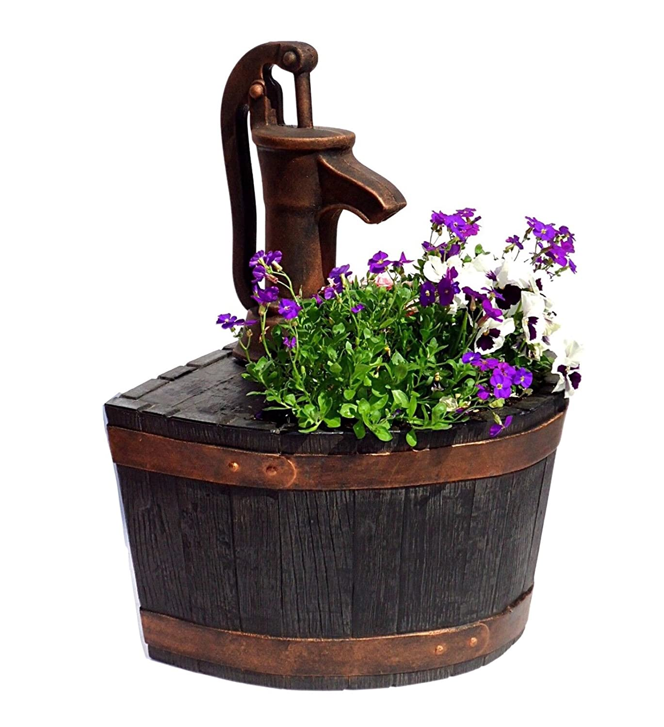 Garden Planter Whiskey Barrel & Pump (Bronze Efffect) none working replica