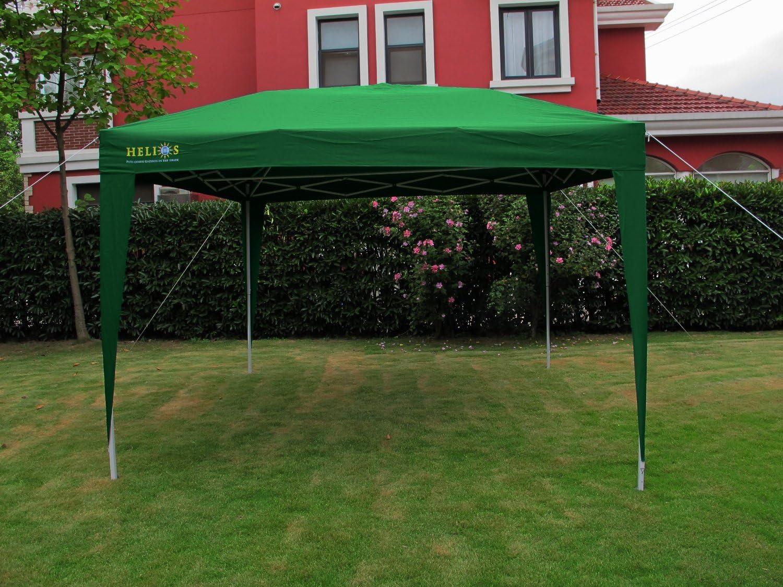 Helios - Cenador plegable y bolsa (impermeable, 3 x 3 m, barra cortavientos, cuadrado), color verde: Amazon.es: Jardín