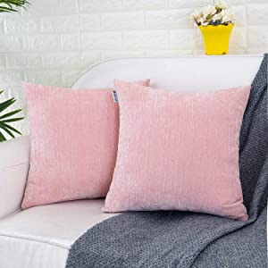 HWY 50 Decorative Throw Pillows Covers Soft Comfy Cashmere Striped Pattern Square Pillows Covers Set Cushion Cases for Sofa Couch Living Room 18 x 18 inch Pack of 2 Light Coral Pink Decor