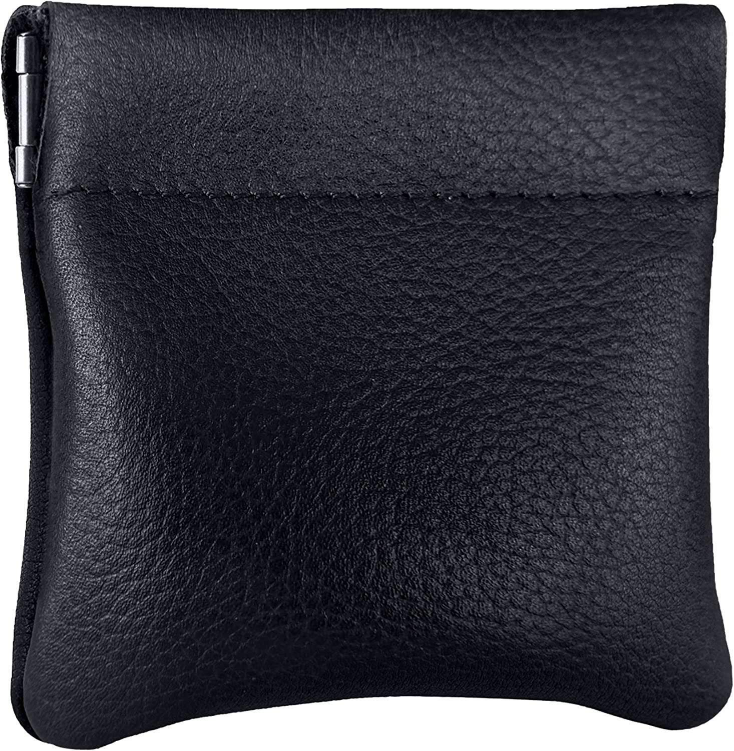 Classic Leather Squeeze Coin Purse change Holder For Men, Pouch size 3.5 in X 3.25 in. high, Navy