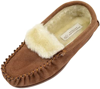 Ladies/Womens Suede Sheepskin Moccasins/Slippers with Rubber Sole - Camel - 5 US