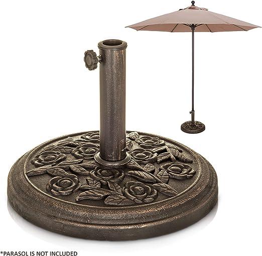9, 5 kg, 45 cm diámetro. Base de hierro fundido para sombrilla de jardín – bronce con diseño de rosas.: Amazon.es: Jardín