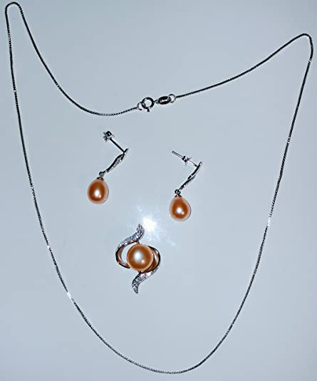 dbcb08050 This Articulate 925 Sterling Silver Jewelry Sets for Women 100% Natural  Freshwater Pearl Costume Girls