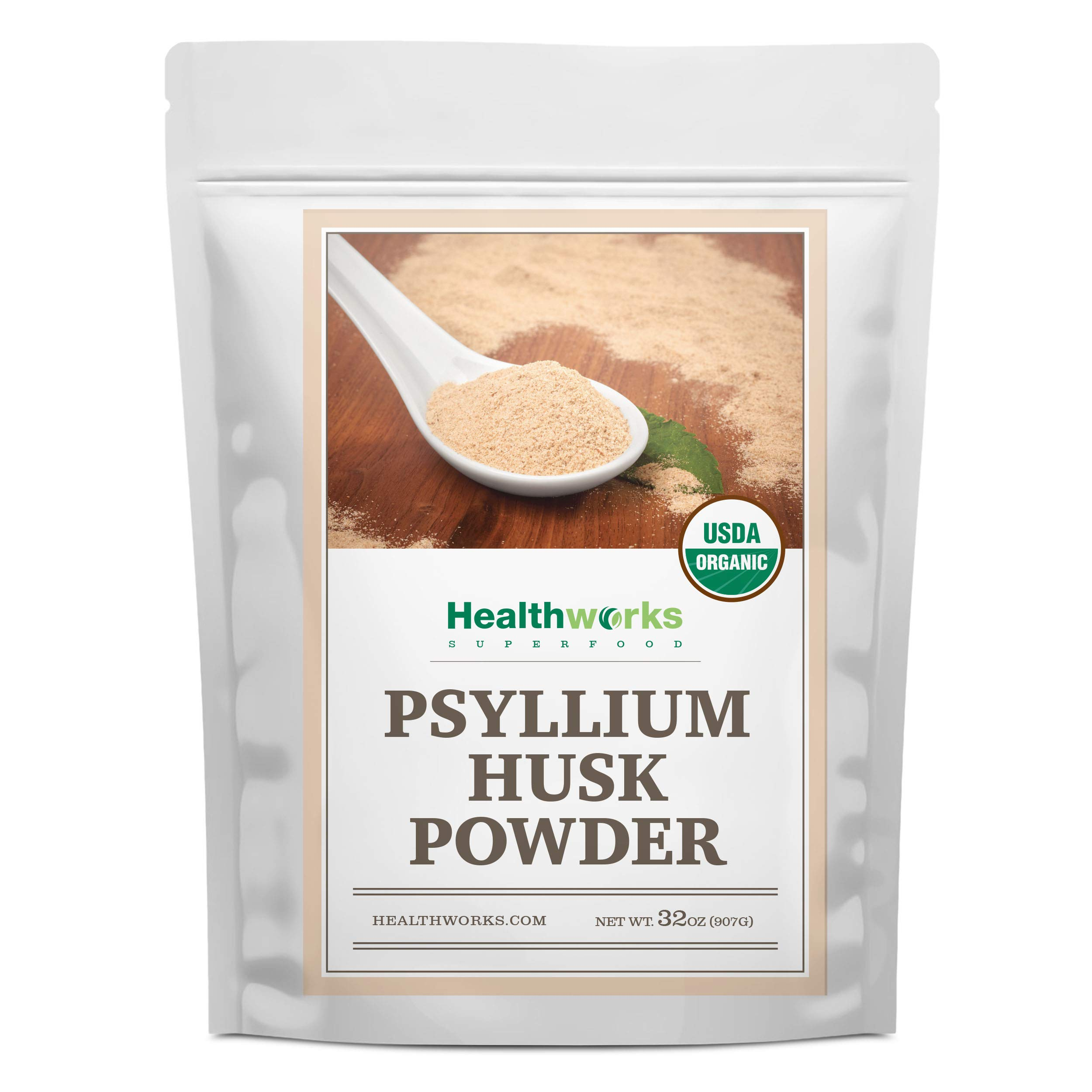 Healthworks Psyllium Husk Powder (32 Ounces / 2 Pounds) | Raw | Certified Organic | Finely Ground Powder from India | Keto, Vegan & Non-GMO | Fiber Support | Packaging May Vary by Healthworks