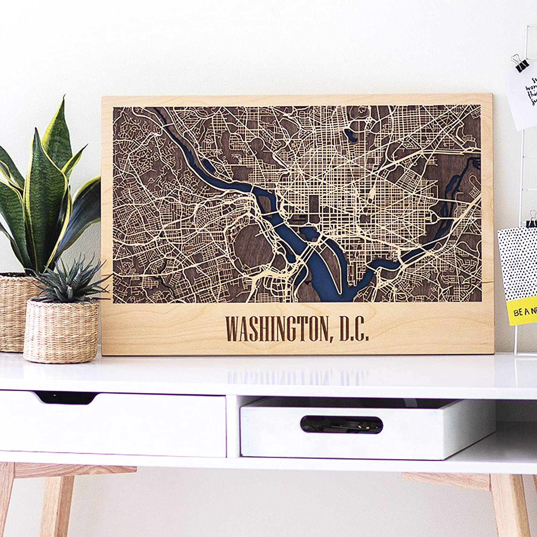 United States City Map Wall Art - Horizontal Framed Poster Map of Boston, Washington DC, Miami. Wooden Wall Art Decor - Horizontal USA City
