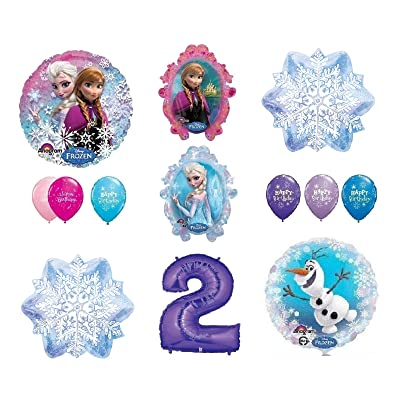 LoonBalloon FROZEN Anna ELSA OLAF Snowman Snowflake 2nd #2 (12) Birthday Party Balloons Set by LoonBalloon: Toys & Games