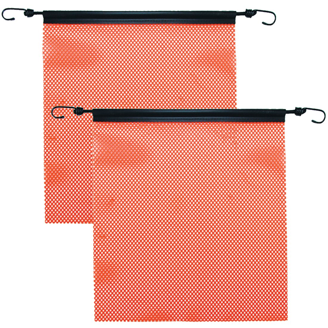 Vulcan Bright Orange Safety Flag With Stretch Cord For Wide And Oversize Load Marking (18'' x 18'' - Mesh Construction - Pack of 2)