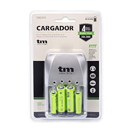 TM Electron TMBCR010 - Cargador y 4 baterías, Color Verde