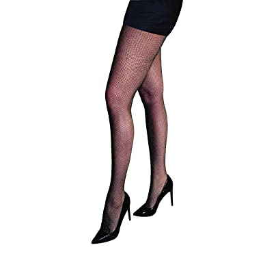 797c129a3fc63 Silky Lurex Sparkle Fishnet Tights-Black-One Size: Amazon.co.uk: Clothing