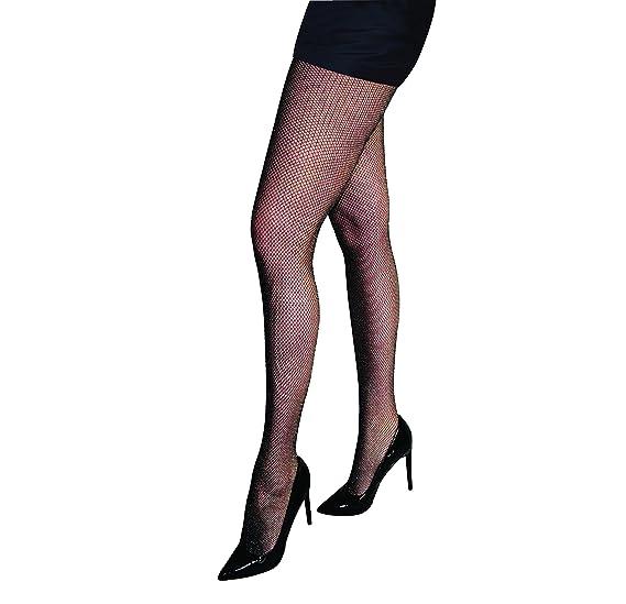2ed592863fba4 Silky Lurex Sparkle Fishnet Tights-Black-One Size at Amazon Women's ...