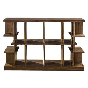Multi Level Display Shelf Console Table | Wood Display Mid Century Modern  Open