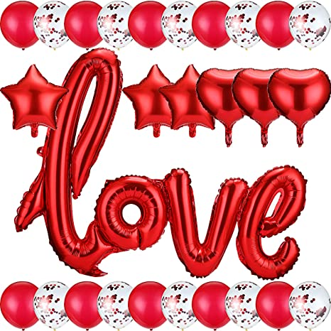 Pack of 37Red ... Details about  /Valentines Day Decorations 40 Inch Red Love Balloons Kit
