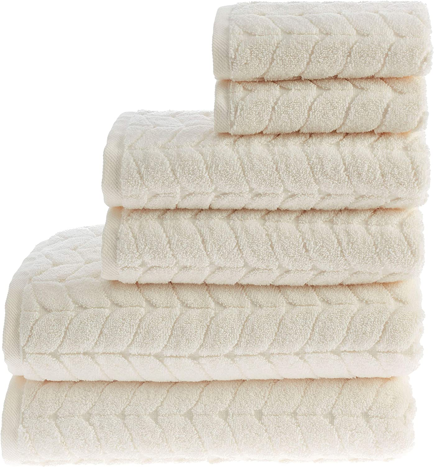 Bagno Milano Turkish Cotton Luxury Softness Spa Hotel Towels, Quick Drying Thick and Plush Bathroom Towels, Made in Turkey (Cream, 6 pcs Towel Set)