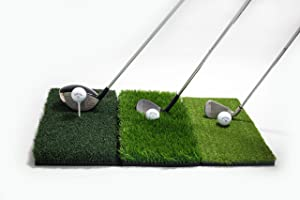 GOLFIT Golf Hitting Mat - 3-in-1 Foldable - Practice Turf Backyard or Indoor Chipping Mat - Portable Premium Quality Realistic Multi-Length Grass
