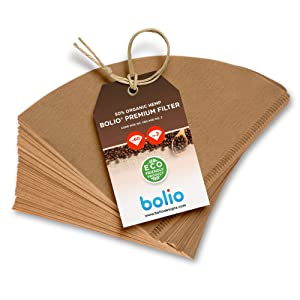 Premium Unbleached Hemp V60 Paper Cone Coffee Filters – 100 Count - Fits all no.2 size Chemex, Bodum, Hario Cone Coffee Drippers- 100% Biodegradable & Zero Sediment by Bolio (Refill Pack of 100)