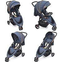 Strollo Buggy/Kinderwagen mit Liegeposition, klein zusammenfaltbar, Modell 2019 Blau Edtion 5-Punkt Sicherheits-Gurt
