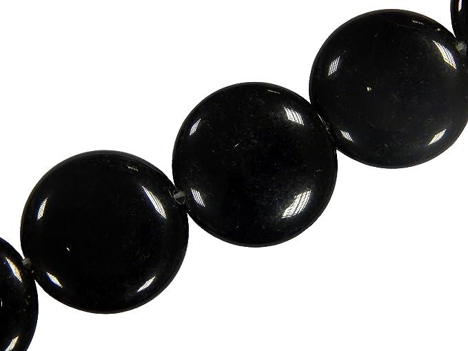 16stk Onyx Perlen Halbedelstein Edelstein 24mm Schwarz Flache Runde Münze Scheibe 1 Strang Schmuckstein für Kette, Ring, Bast