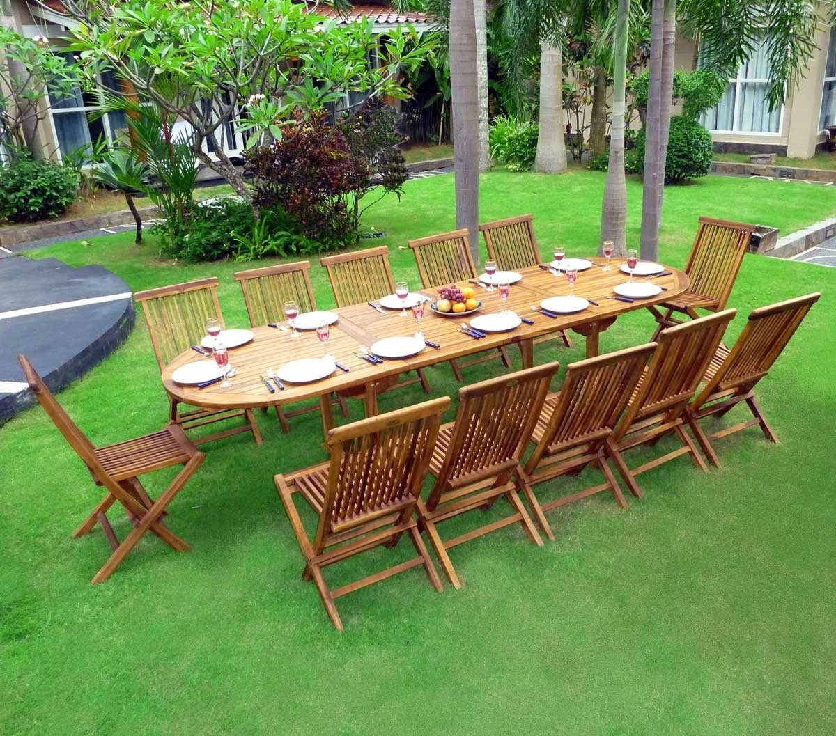 salon de jardin en teck huilé grande taille 12 places: Amazon.fr ...