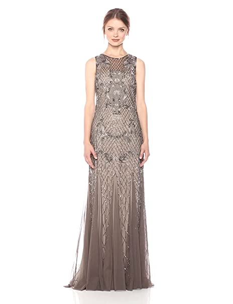 1920s Style Dresses, Flapper Dresses Adrianna Papell Womens Sleevless Beaded Embroidered Deco Gown $379.00 AT vintagedancer.com