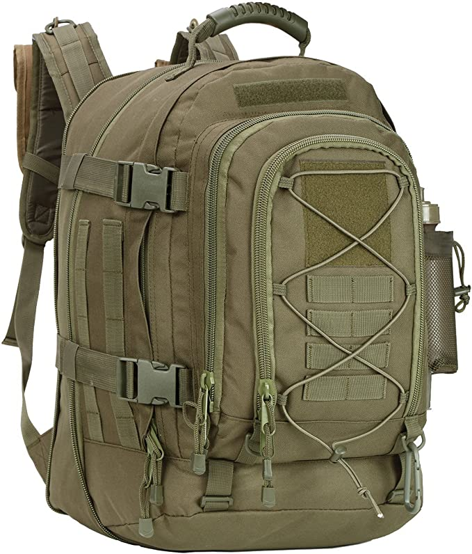 Image of a bulky backpack with multiple compartments on front