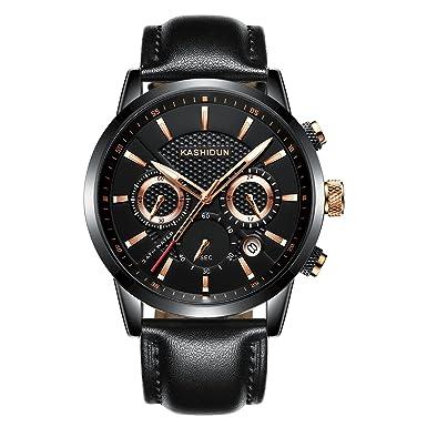 KASHIDUN Relojes Hombre Acero Inoxidable Reloj de Pulsera de Lujo Moda Cronómetro (B 17): Amazon.es: Relojes