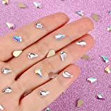 TecUnite 100 Pieces Flatback Water Drop Rhinestones Nail Art Rhinestones Glass Stones 3D Nail Jewelry Accessories, 5 x 8 mm