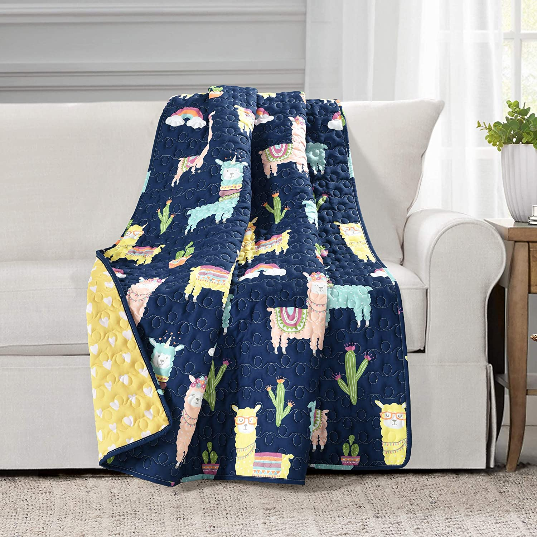 Make A Wish Southwest Llama Cactus Yellow & Navy Reversible Throw Blanket, 50
