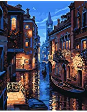 Komking DIY Painting by Numbers for Adults, Paint by Number Kits on Canvas with Brush - Venice Night 16x20inch