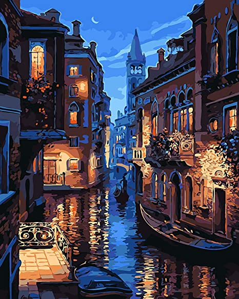 Komking Diy Painting By Numbers For Adults Paint By Number Kits On Canvas With Brush Venice Night 16x20inch