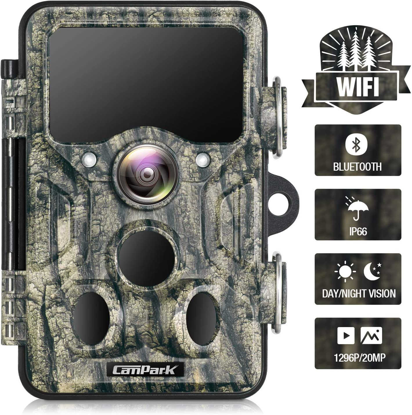 Campark WiFi Bluetooth Trail Camera 20MP 1296P Game Hunting Camera with 940nm IR LEDs No Glow Night Vision Motion Activated Waterproof IP66 for Monitoring Outdoor Wildlife Animal