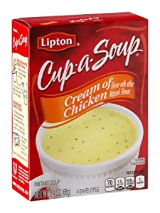 Lipton Cup-A-Soup Cream of Chicken 4 Count 2.4-Ounce Box (Pack of 6)